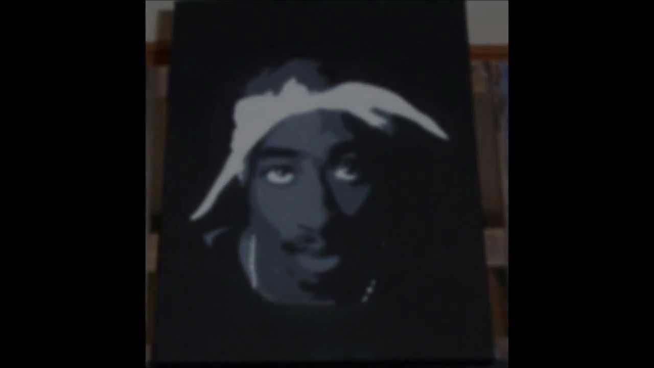 Tupac Shakur Stencil Canvas Art