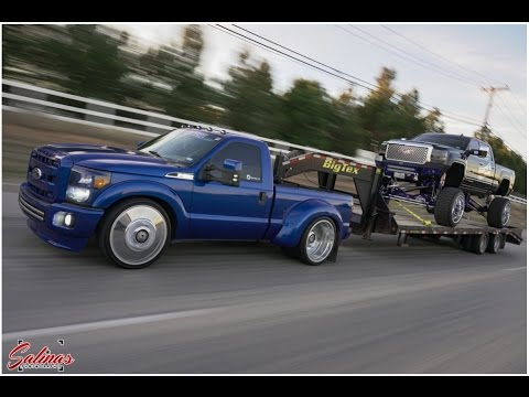 Lifted 2017 F350 Dually >> Dropped F350 Dually tows a SEMA Denali around! - YouTube