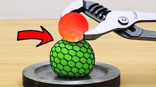 EXPERIMENT Glowing 1000 degree METAL BALL vs Anti Stress Ball
