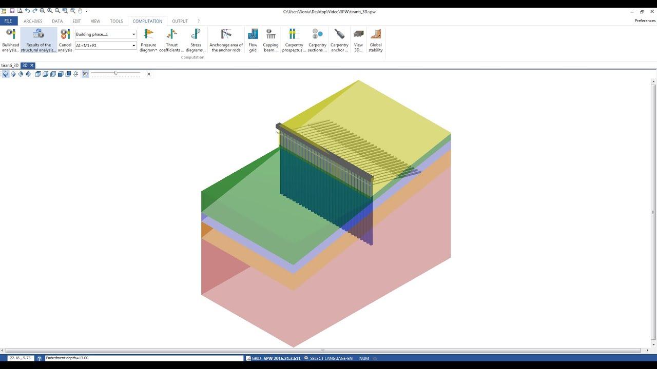 Spw Sheet Pile Wall Design Youtube