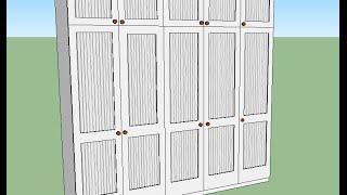 Голям гардероб за спалня МДФ - бял, слонова кост