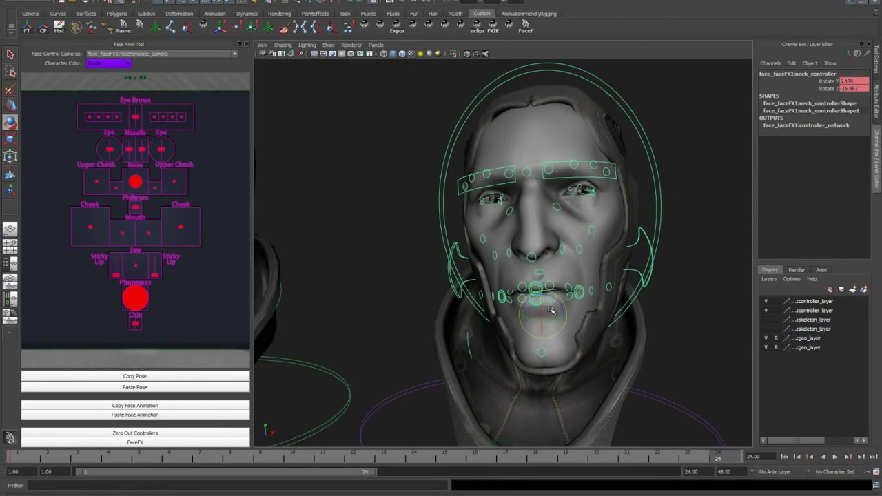 Maya Face Rig: Unreal Engine 3 & Runtime FaceFX by Nicholas Silveira