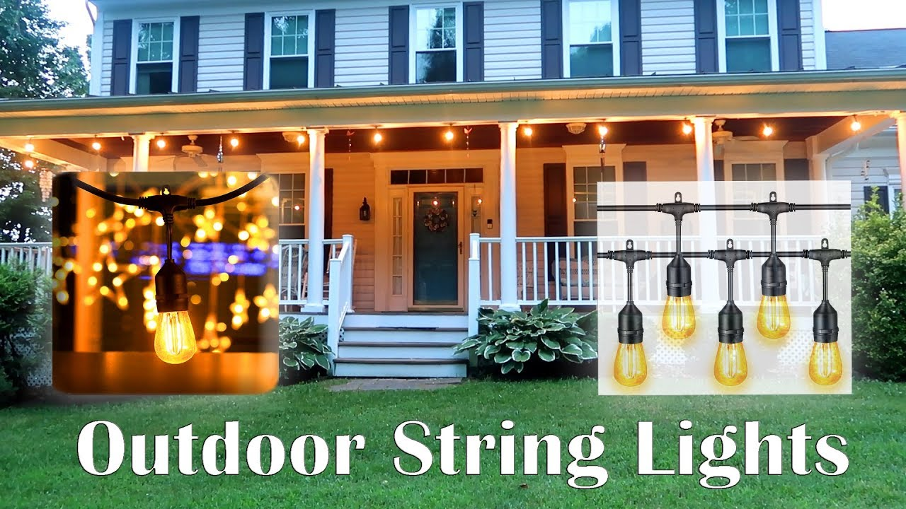 led hanging lights outdoor string lights malivent outdoor patio string lights 48 ft warm white led hanging review