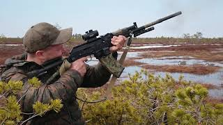 Охота на гуся весной на болоте видео