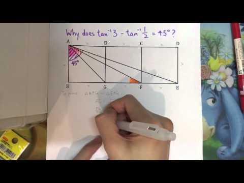Why does arctan(3) - arctan(1/2) = 45 degrees?
