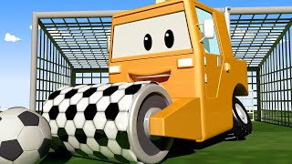Steve the STEAMROLLER crashes into a GOALPOST!  - Tom the Tow Truck of Car City Cartoon for Kids