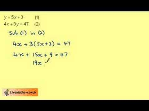 Solving Simultaneous Equations By Substitution Example 1 Youtube