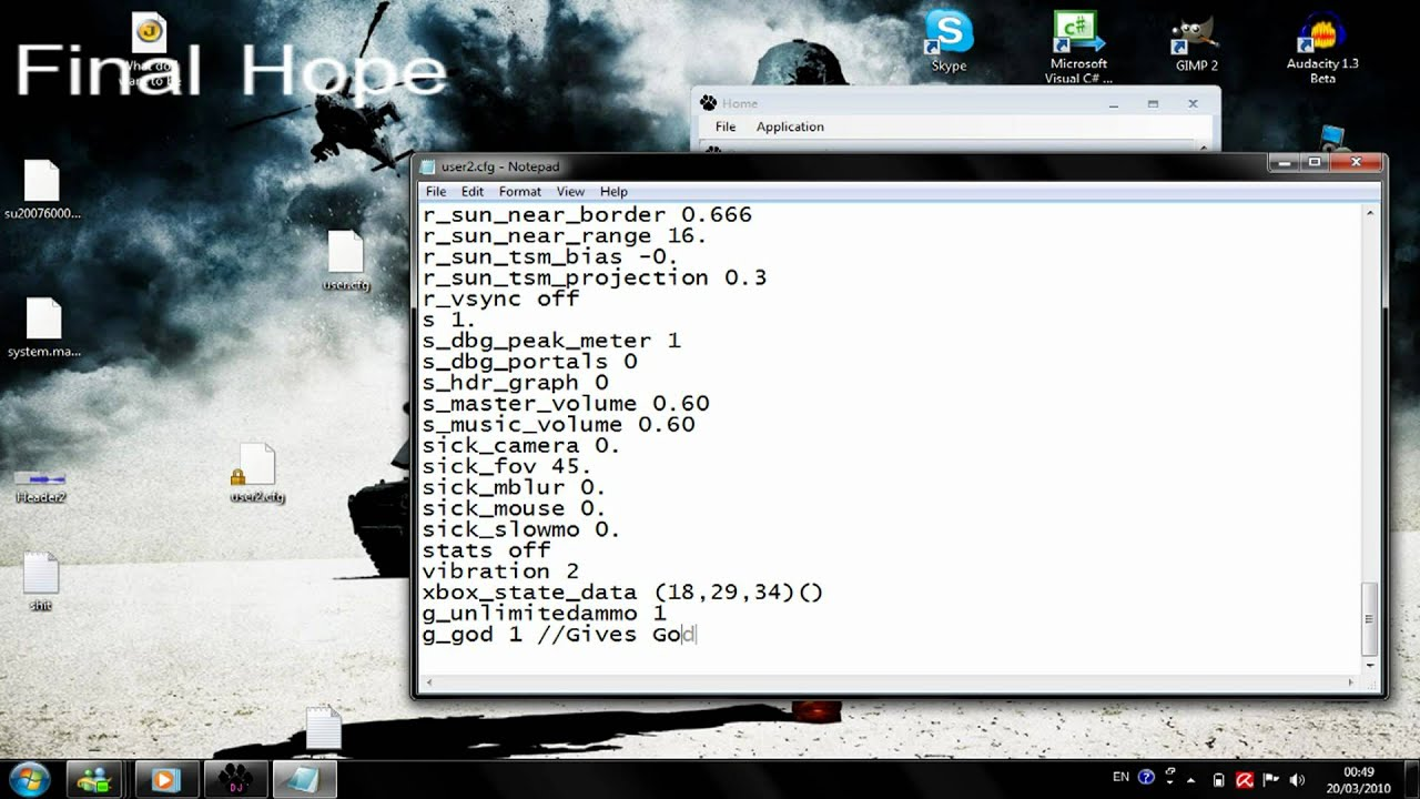 How to use cheats for Metro 2033