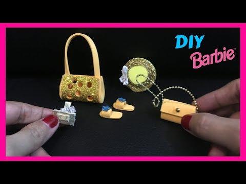 5 DIY Miniature BARBIE STUFF ACCESSORIES BAGS, WALLET, HAT, SLIPPERS