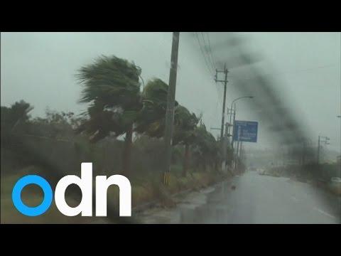 Typhoon barrels down the Japanese coast