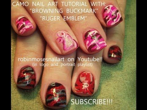 4 Nail Art Tutorials | Easy Camo Short Nail Design | Browning Nails