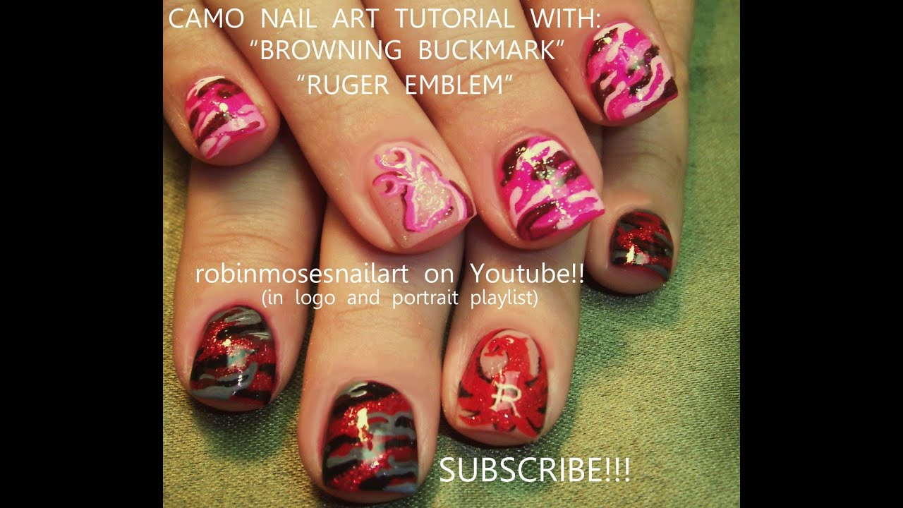 4 Nail Art Tutorials Easy Camo Short Nail Design Browning Nails