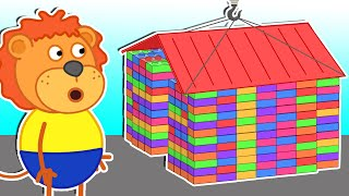 Lion Family | Builds Colorful Lego Playhouse #2 | Cartoon for Kids
