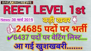 REET Level 1st Waiting List 6437 पदों पर || वेटिंग लिस्ट जारी होने की आधिकारिक घोषणा || REET Update