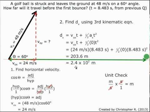Finding The Horizontal Distance In Type 2 Projectile