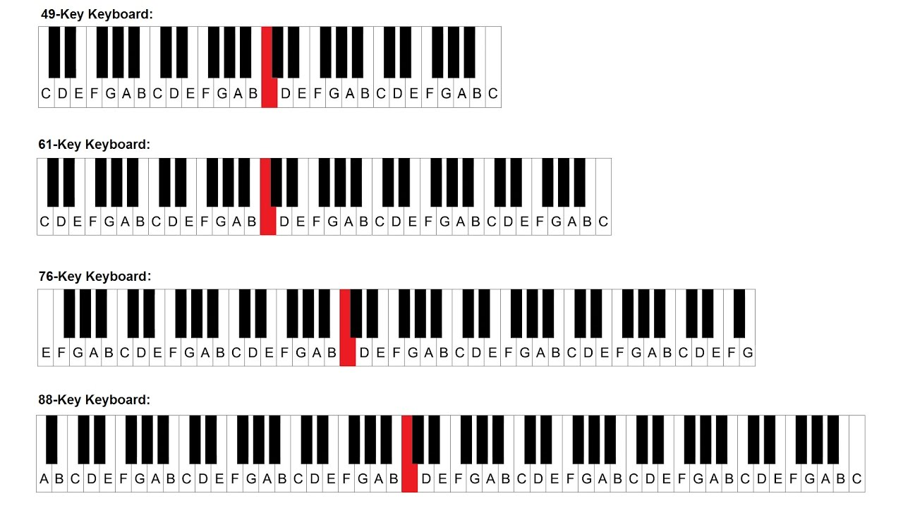 This is a picture of Witty 61 Key Piano Labeled