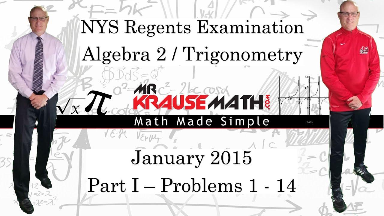 nys algebra 2 trigonometry regents january 2015 part 1 problems rh youtube com trig regents practice test Study Guide Template
