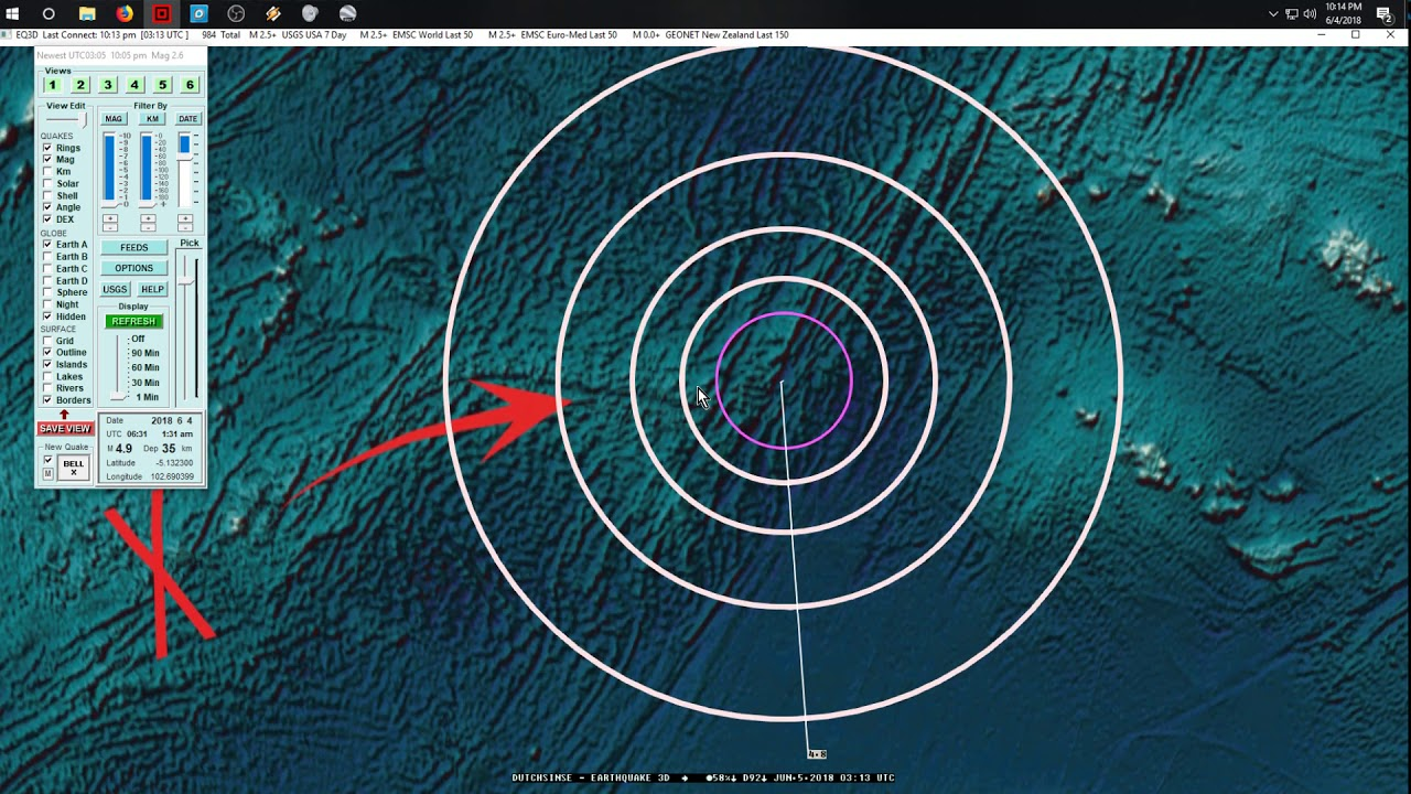 6/04/2018 -- Large spread of seismic activity -- Earthquake increase +  MAJOR VOLCANISM