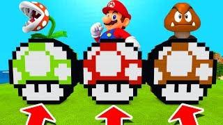 Minecraft PE : DO NOT CHOOSE THE WRONG MUSHROOM! (Piranha Plant, Mario & Goomba)