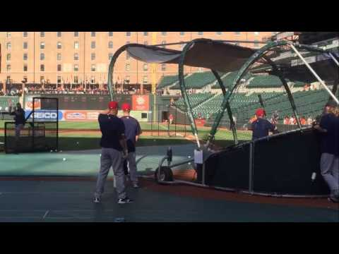 Boston Red Sox's Mookie Betts takes BP at Oriole Park at Camden Yards