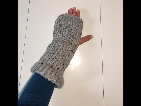 Loom Knit Fingerless Mittens