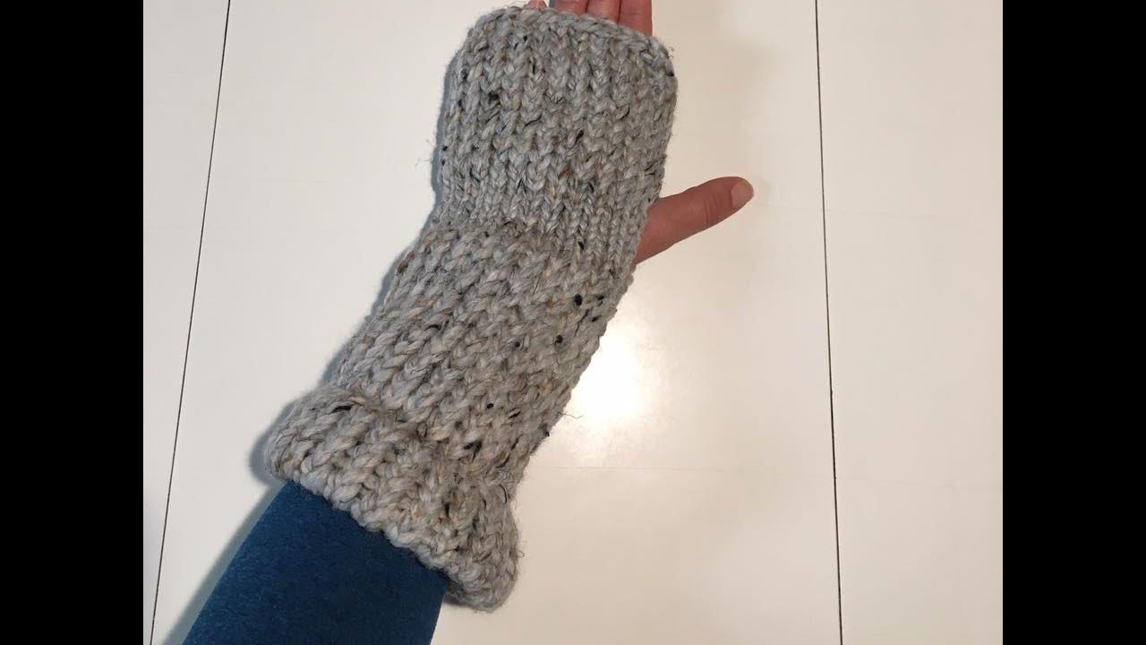 Loom Knit Fingerless Mittens - YouTube