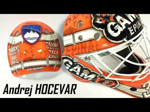 Mask Hockey Goalie Custom Paint By Venom Design Andrej Hocevar