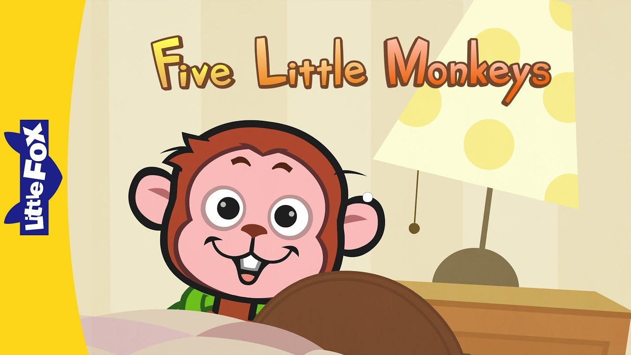 Five Little Monkeys | Nursery Rhymes | Learning Song | Little Fox | Animated Songs for Kids