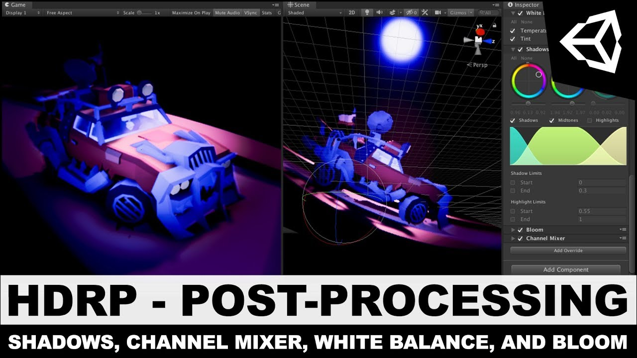 Unity3d HDRP - High Definition Rendering Pipeline White Balance, Shadows,  Channel Mixer, and Bloom