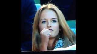 Andy Murray´s girlfriend saying probably a swear words to Tomáš Berdych