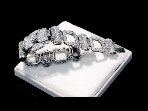 21.38 ct Diamond and Platinum Bracelet - Vintage French Circa 1950 - AC Silver (A8150)