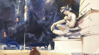 "Advancing with Watercolor: Working in Plein Air NYC - ""Posing at Columbus Circle"""