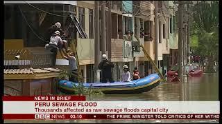 Sewage floods capital city (Peru) - BBC News - 15th January 2019