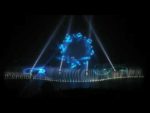 O shape laser water screen fonutain show