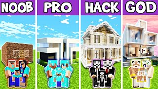 Minecraft: FAMILY MODERN LUXURY MANSION BUILD CHALLENGE - NOOB vs PRO vs HACKER vs GOD in Minecraft
