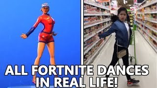 ALL *NEW* FORTNITE DANCES IN REAL LIFE! (VIVACIOUS, HITCHHIKER & MORE)