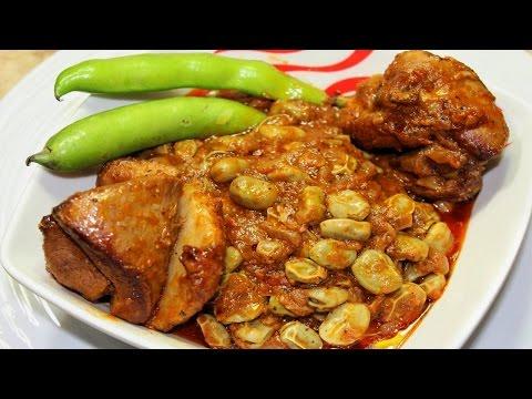 طريقة عمل الفول الاخضر المطبوخ مع اللحم او الدجاج او الرومي - الفول الحراتي المطبوخ