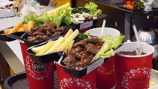 drink and steak in a cup! (컵에 음료수와 스테이크를 동시에! ステーキ, 牛排 95,000VND) vietnamese street food