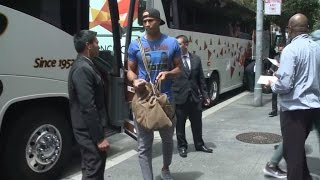 Cleveland Cavs Arrive For Thursday's Game 1 Of NBA Finals Against Warriors