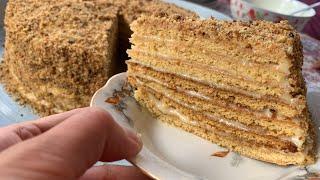 Медовик жасоо Кыргызча рецепт Уй шартында балдуу медовик торт Торт Медовик с заварным кремом