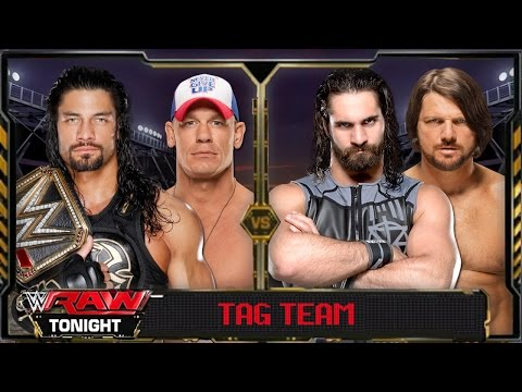 WWE Raw 2016 - John Cena & Roman Reigns VS Seth Rollins & AJ Styles Full Match HD