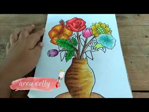 Cara Menggambar Vas Bunga Dan Bunganya Belajar Menggambar Cara Menggambar Youtube