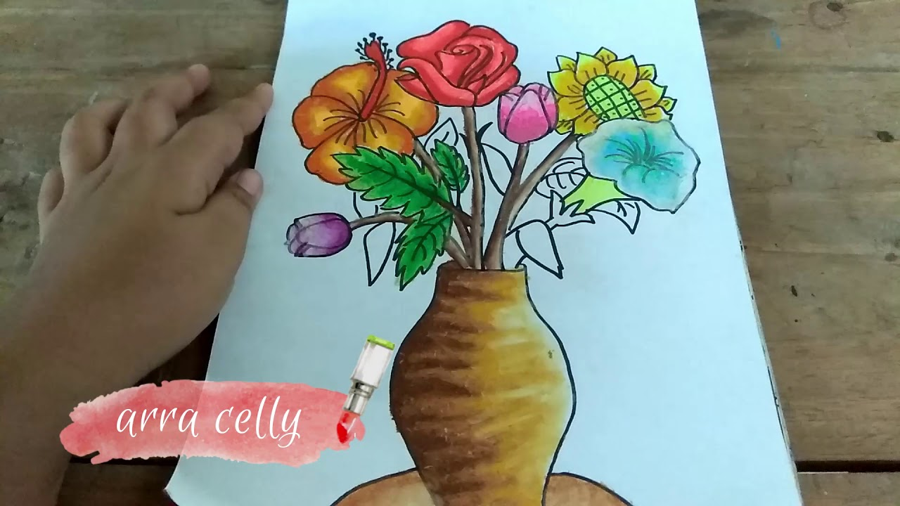 Cara Menggambar Vas Bunga Dan Bunganya Belajar Menggambarcara