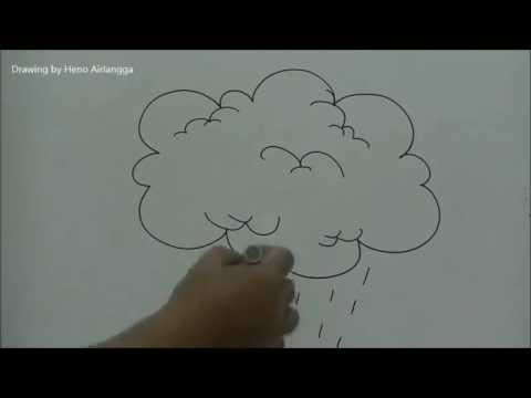 Cara Menggambar Awan Hujan Untuk Ilustrasi Anak Youtube