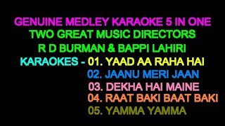 MEDLEY KARAOKE WITH LYRICS MUKHDA 5 IN ONE ONLY D2 R D VS BAPPI DIGITALLY FOR STAGE