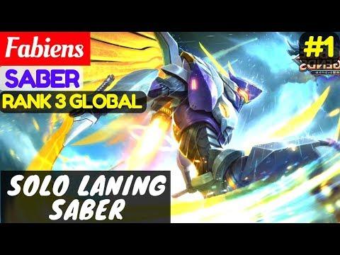 Solo Laning Saber [Top Global 3 Saber]   Fabiens Saber Gameplay And Build #1 Mobile Legends
