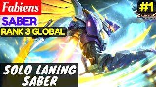 Solo Laning Saber [Top Global 3 Saber] | Fabiens Saber Gameplay And Build #1 Mobile Legends