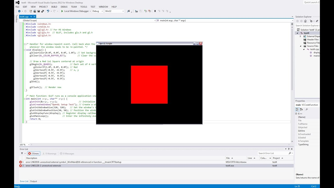 How To Set Up Opengl And Glut In Visual Studio C Youtube