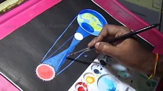 How to Draw Solar Eclipse / Surya Grahan Drawing for Kids