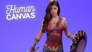 From Naked Woman to Wonder Woman - Human Canvas